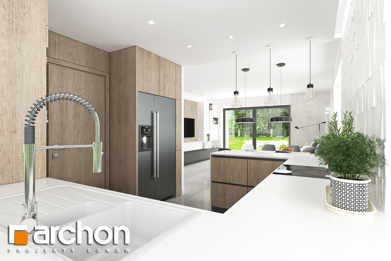 Проект дома ARCHON+ Дом в тополях (Г2) визуализация кухни 1 вид 2