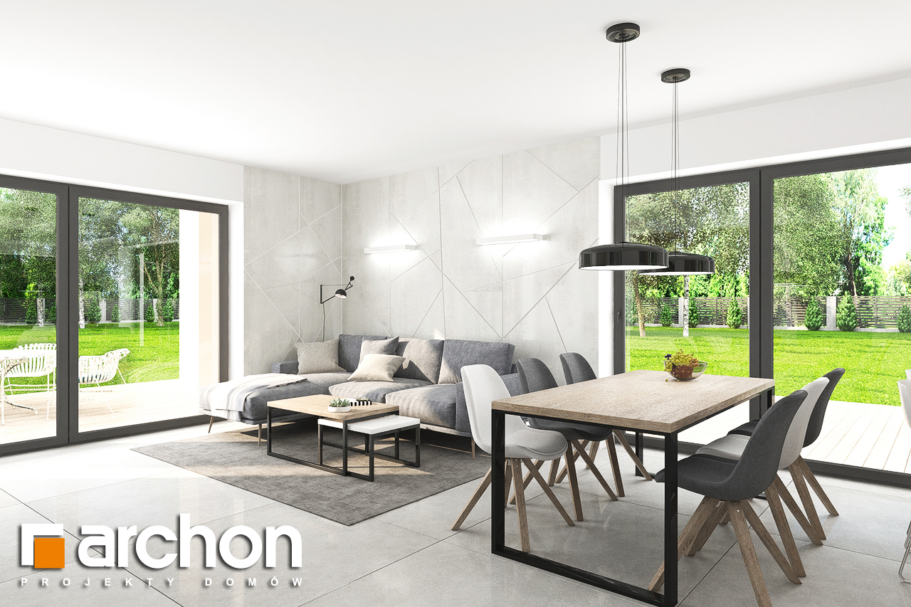 Проект будинку ARCHON+ Будинок в тополях (Г2) денна зона (візуалізація 1 від 4)