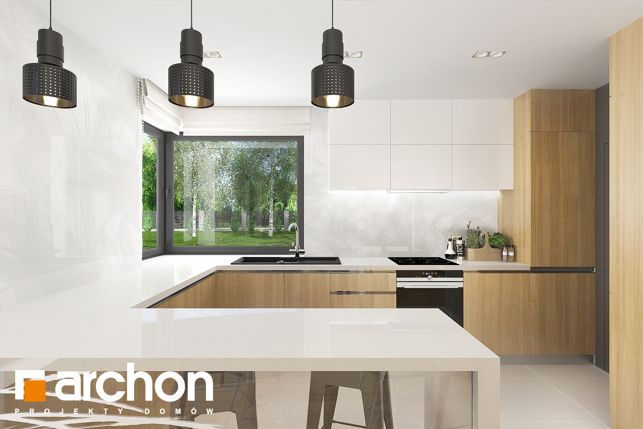 Проект дома ARCHON+ Дом в яблонках 8 (Г2) визуализация кухни 1 вид 1