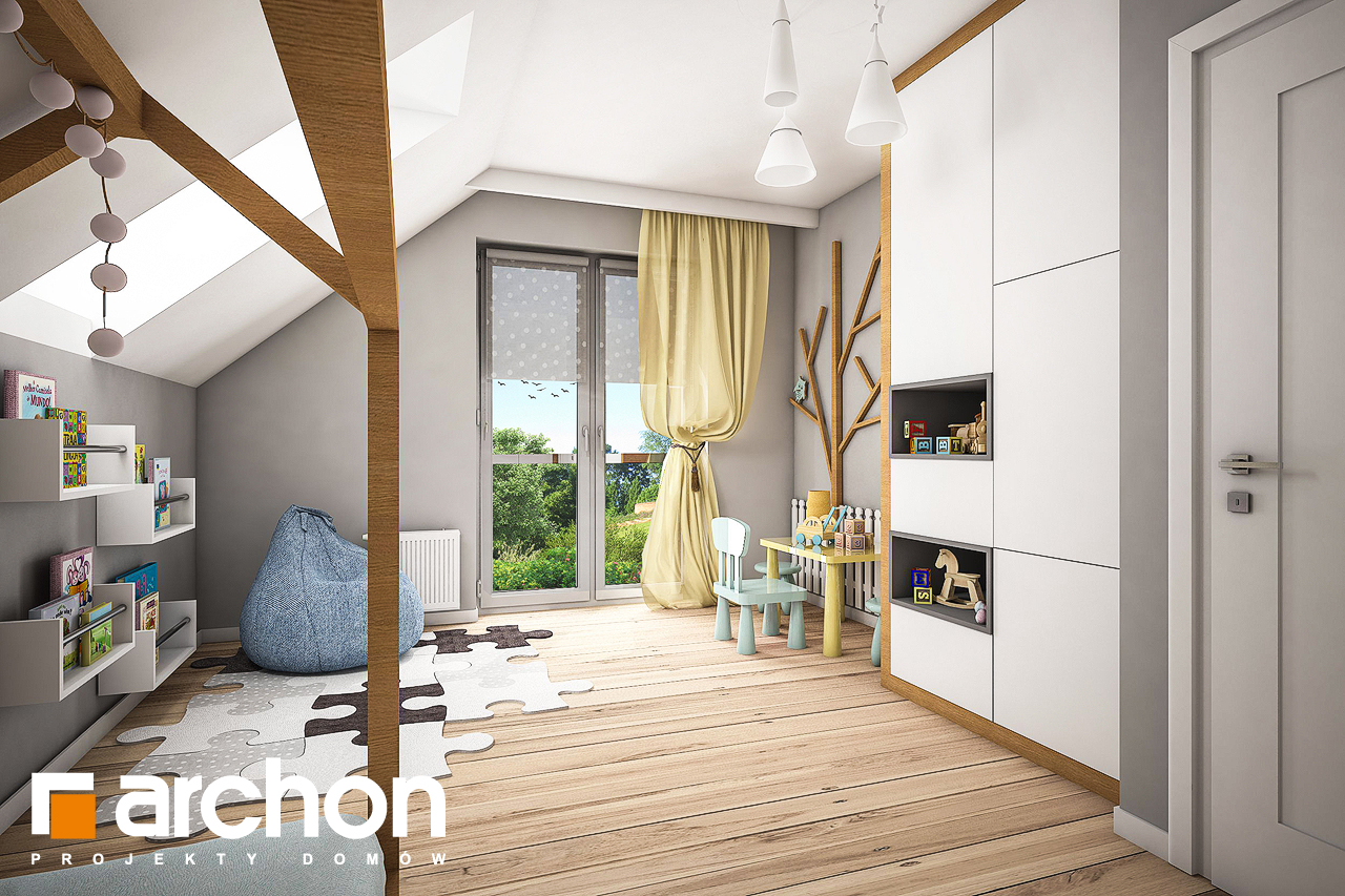 Проект будинку ARCHON+ Будинок в яблонках 8 (Г2) нічна зона (візуалізація 2 від 1)