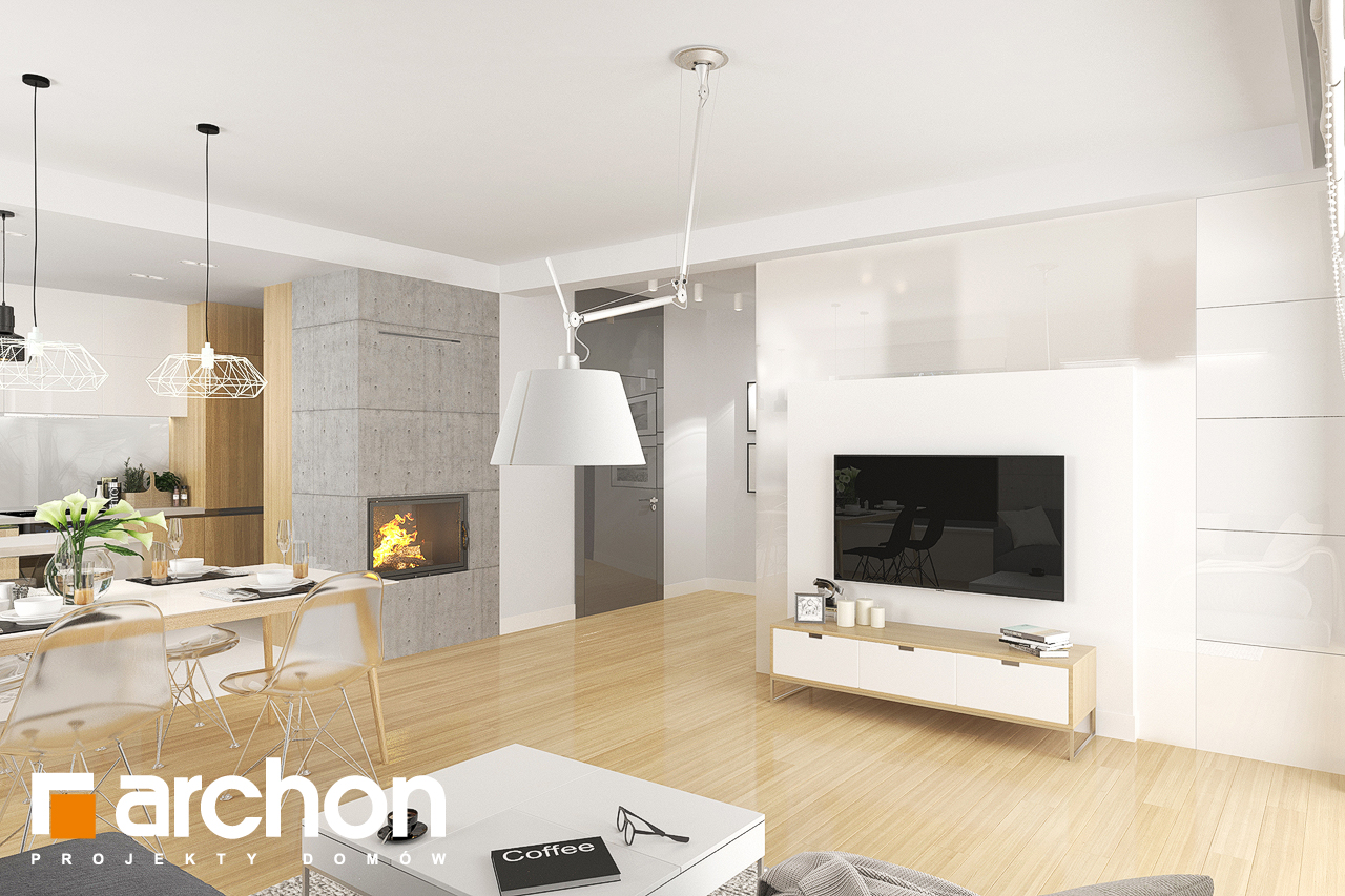 Проект дома ARCHON+ Дом в яблонках 8 (Г2) дневная зона (визуализация 2 вид 4)