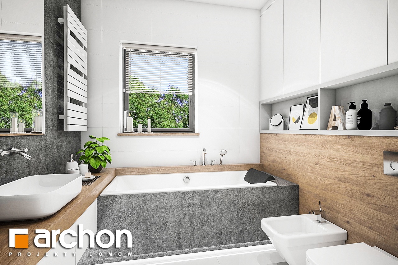 Проект будинку ARCHON+ Будинок в ренклодах 4 візуалізація ванни (візуалізація 3 від 1)