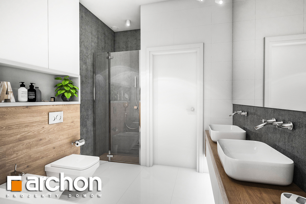 Проект будинку ARCHON+ Будинок в ренклодах 4 візуалізація ванни (візуалізація 3 від 3)