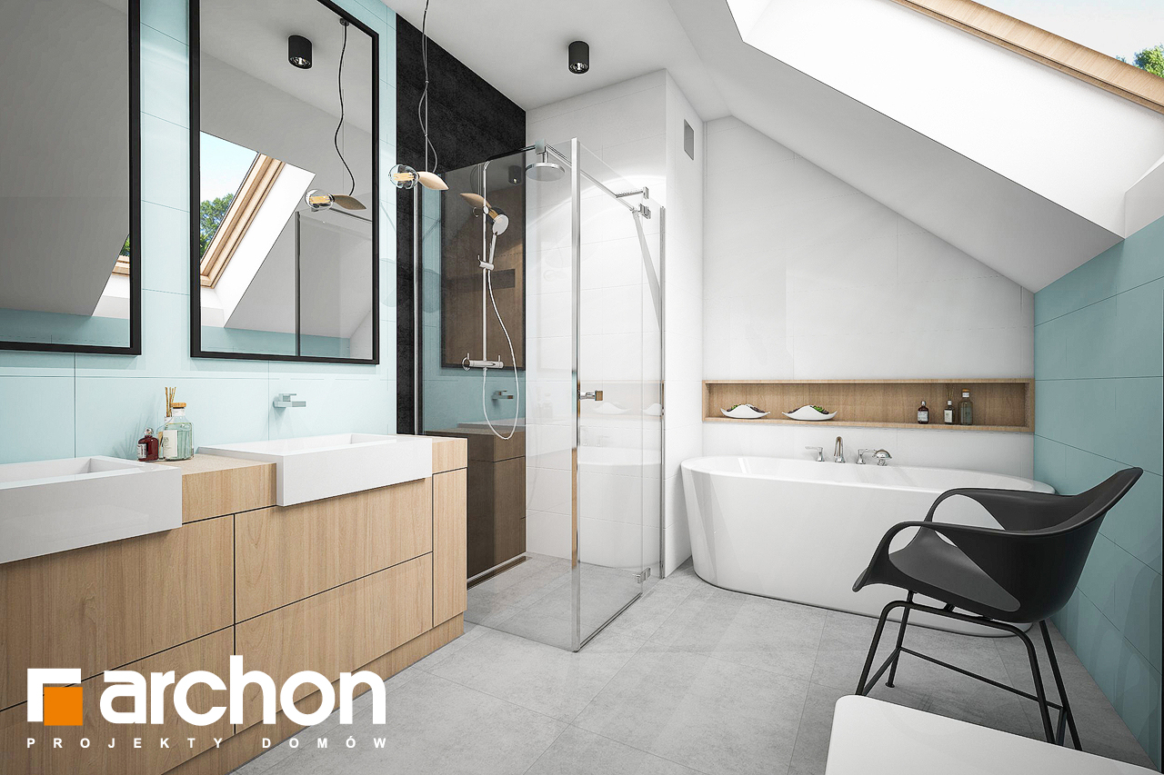 Проект дома ARCHON+ Дом в аммобиуме визуализация ванной (визуализация 3 вид 1)