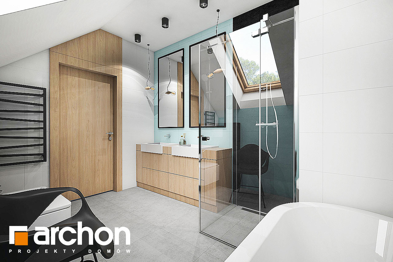 Проект дома ARCHON+ Дом в аммобиуме визуализация ванной (визуализация 3 вид 2)