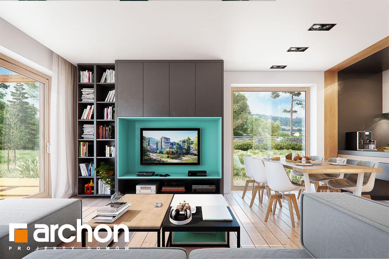 Проект дома ARCHON+ Дом в аммобиуме дневная зона (визуализация 1 вид 1)