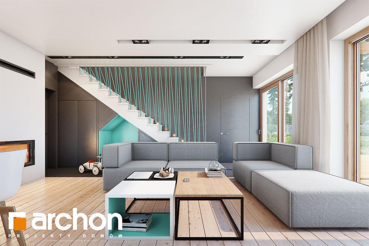 Проект дома ARCHON+ Дом в аммобиуме дневная зона (визуализация 1 вид 2)