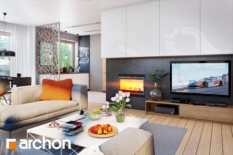 Проект дома ARCHON+ Дом в сирени 2 (Г2) дневная зона (визуализация 1 вид 1)