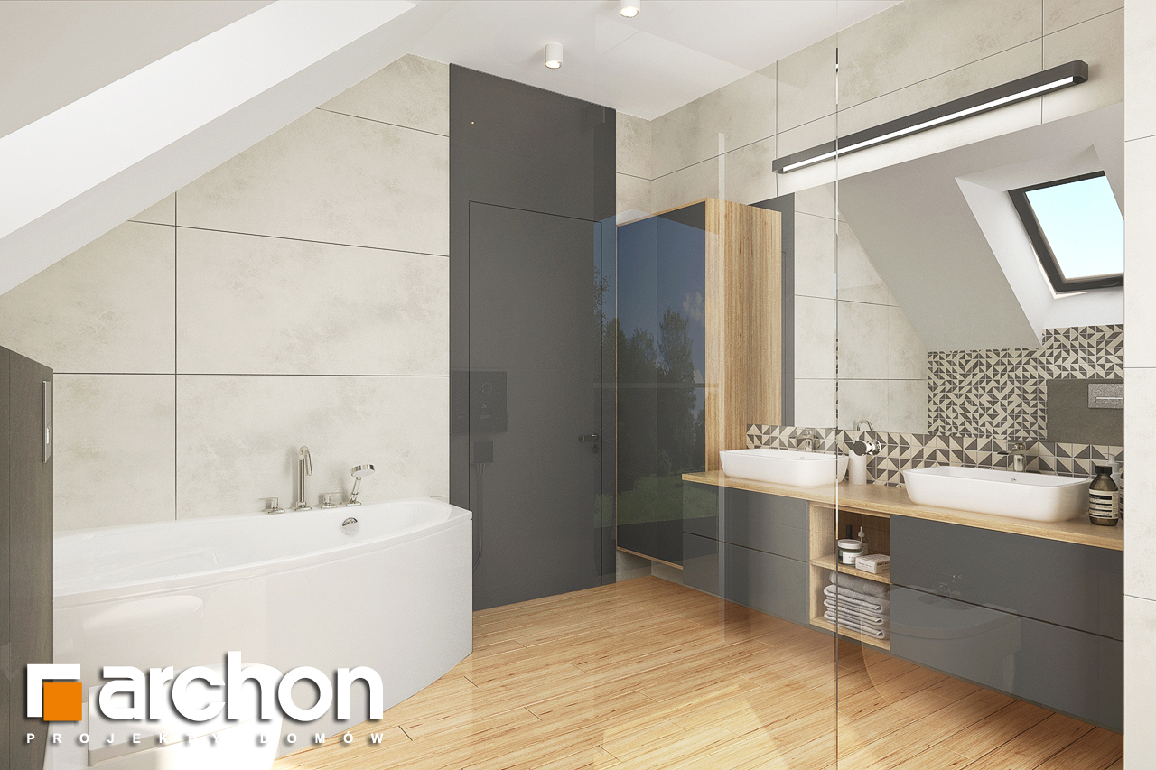 Проект будинку ARCHON+ Будинок в яблонках 14 візуалізація ванни (візуалізація 3 від 2)