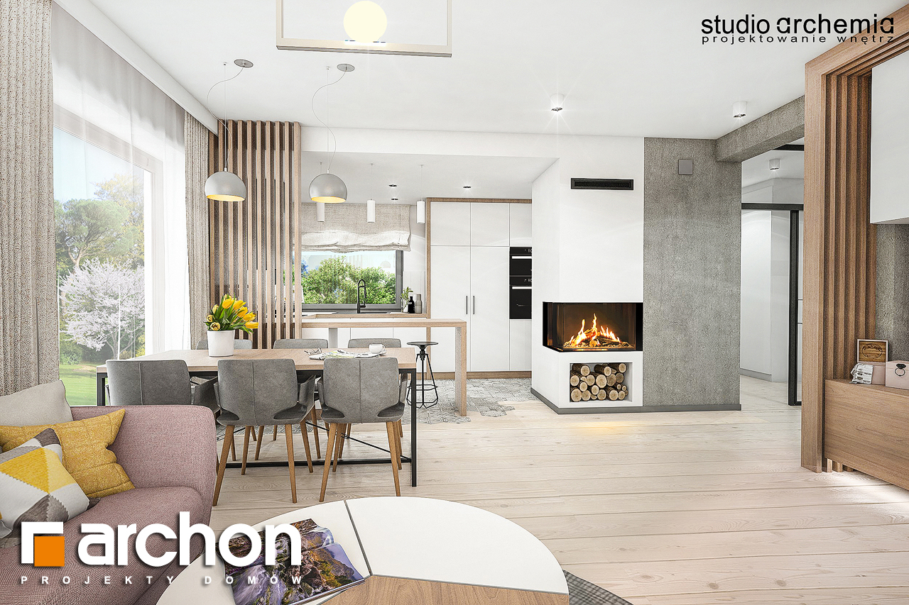 Проект дома ARCHON+ Вилла Констанция (Г2) дневная зона (визуализация 1 вид 2)