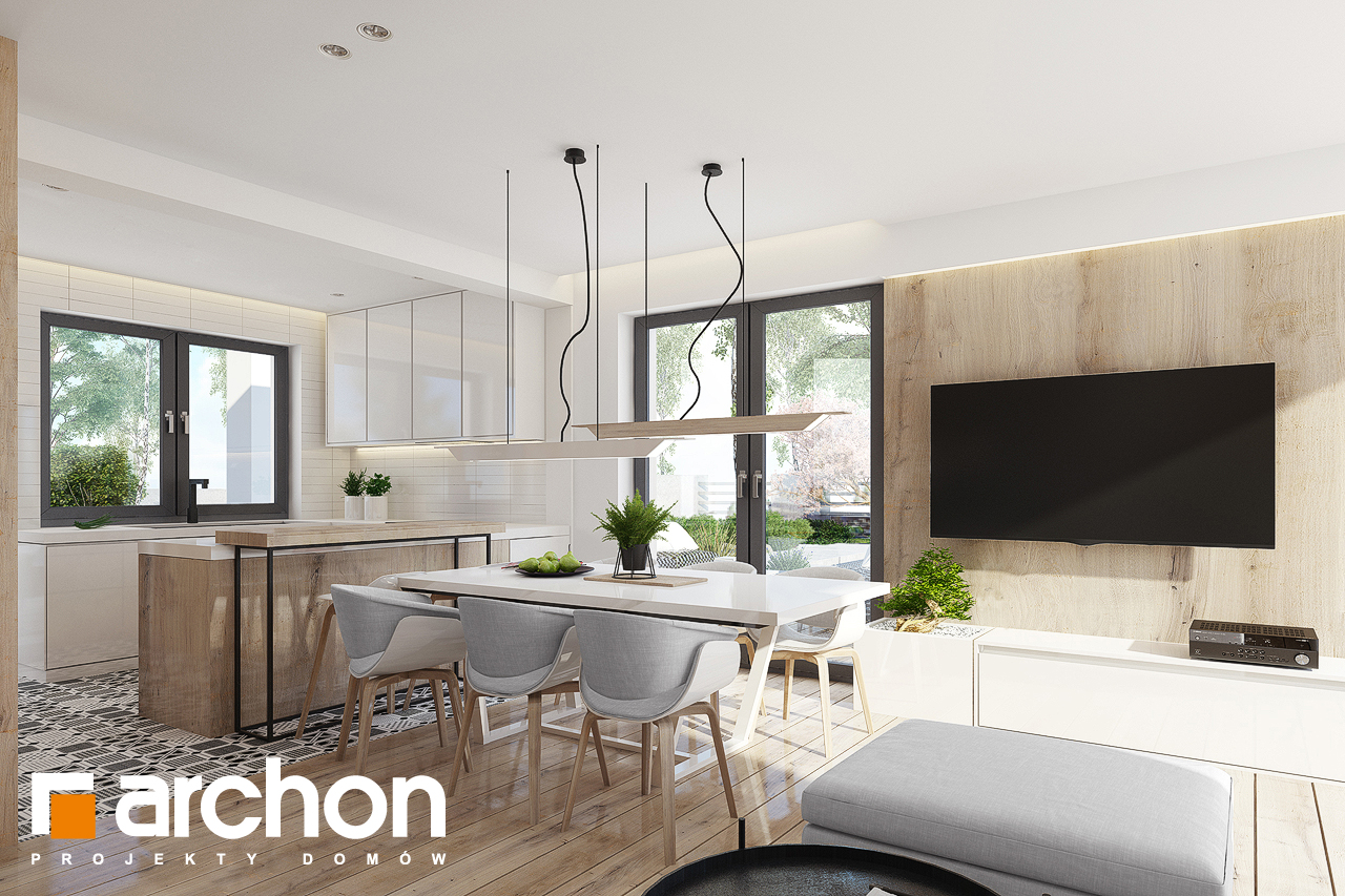 Проект будинку ARCHON+ Будинок в яблонках 15 (Г2) денна зона (візуалізація 1 від 6)