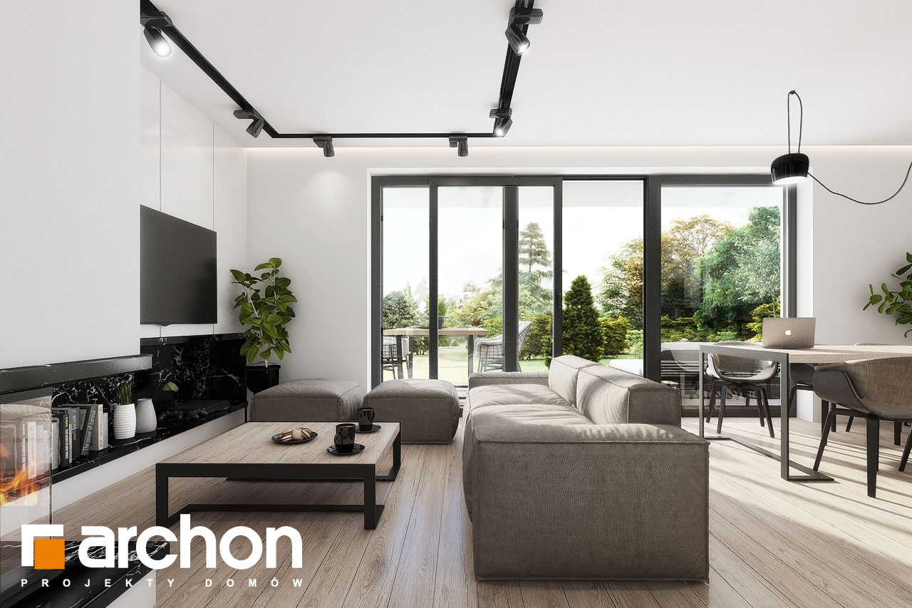Проект дома ARCHON+ Дом в клематисах 24 дневная зона (визуализация 1 вид 1)