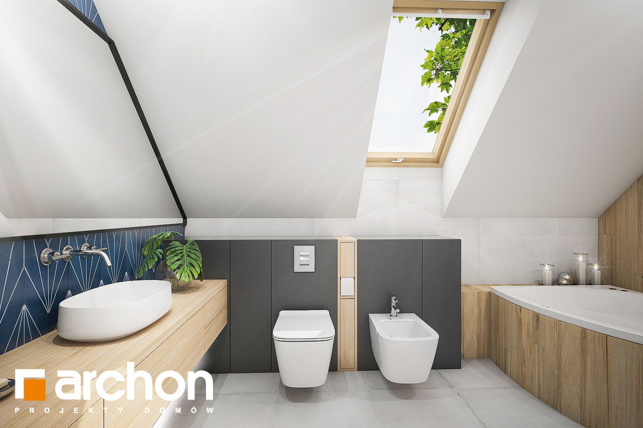 Проект будинку ARCHON+ Будинок у гвоздиках (Г2) візуалізація ванни (візуалізація 3 від 1)