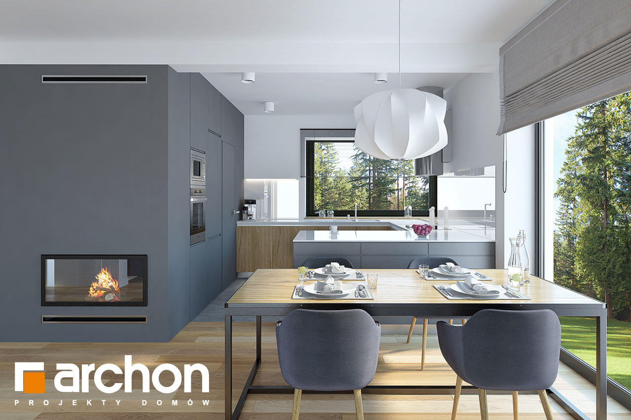 Проект будинку ARCHON+ Будинок у гвоздиках (Г2) денна зона (візуалізація 1 від 5)