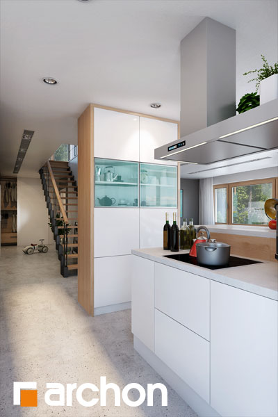 Проект будинку ARCHON+ Будинок в аурорах 4 візуалізація кухні 1 від 4
