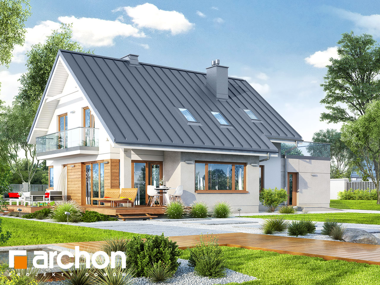 Проект будинку ARCHON+ Будинок в аурорах 4 Вид 2