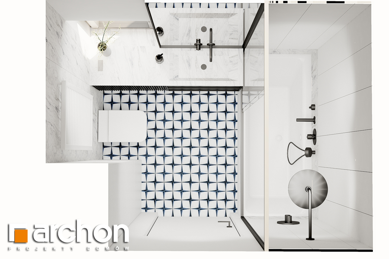 Проект будинку ARCHON+ Будинок в коручках 2 візуалізація ванни (візуалізація 3 від 5)