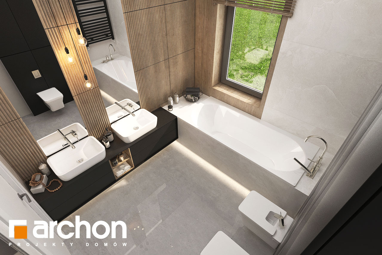Проект будинку ARCHON+ Будинок в ренклодах 11 (Г2) візуалізація ванни (візуалізація 3 від 4)