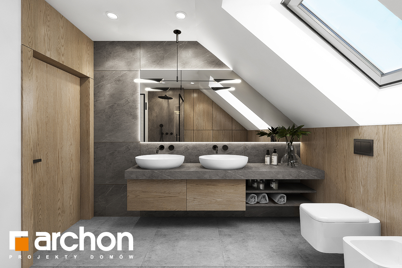Проект будинку ARCHON+ Будинок в ізопірумі 4 візуалізація ванни (візуалізація 3 від 1)