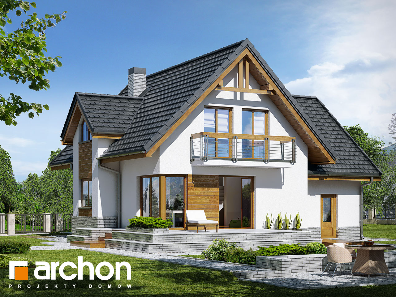 Проект дома ARCHON+ Дом в абрикосах (H) ver.2 Вид 2