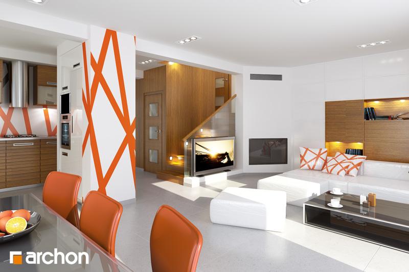 Проект дома ARCHON+ Дом в абрикосах (H) ver.2 дневная зона (визуализация 1 вид 1)