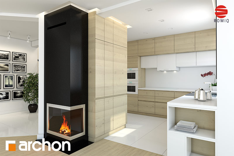 Проект будинку ARCHON+ Будинок в авокадо (ГП) візуалізація кухні 1 від 2