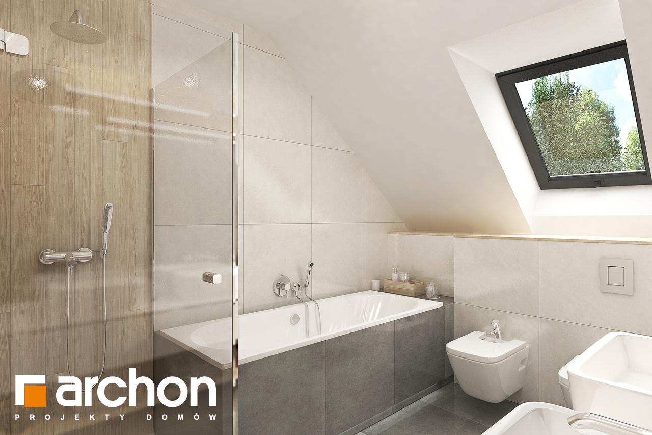 Проект будинку ARCHON+ Будинок в малинівці 8 (Г) візуалізація ванни (візуалізація 3 від 2)