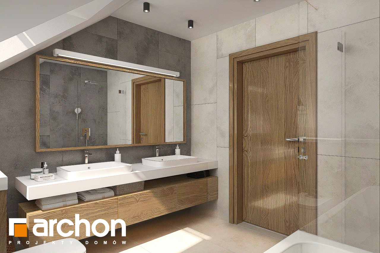 Проект будинку ARCHON+ Будинок в ветіверії  візуалізація ванни (візуалізація 3 від 3)