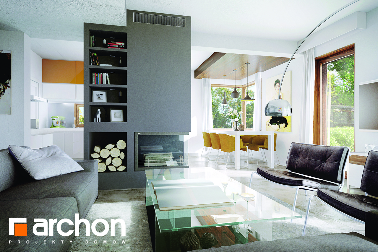 Проект дома ARCHON+ Дом в амариллисах 3 ver.2 дневная зона (визуализация 1 вид 1)