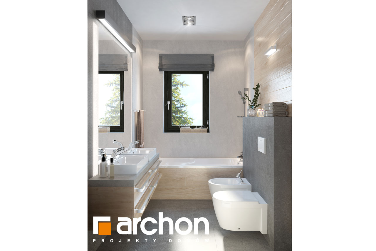 Проект будинку ARCHON+ Будинок в пепероміях візуалізація ванни (візуалізація 3 від 1)