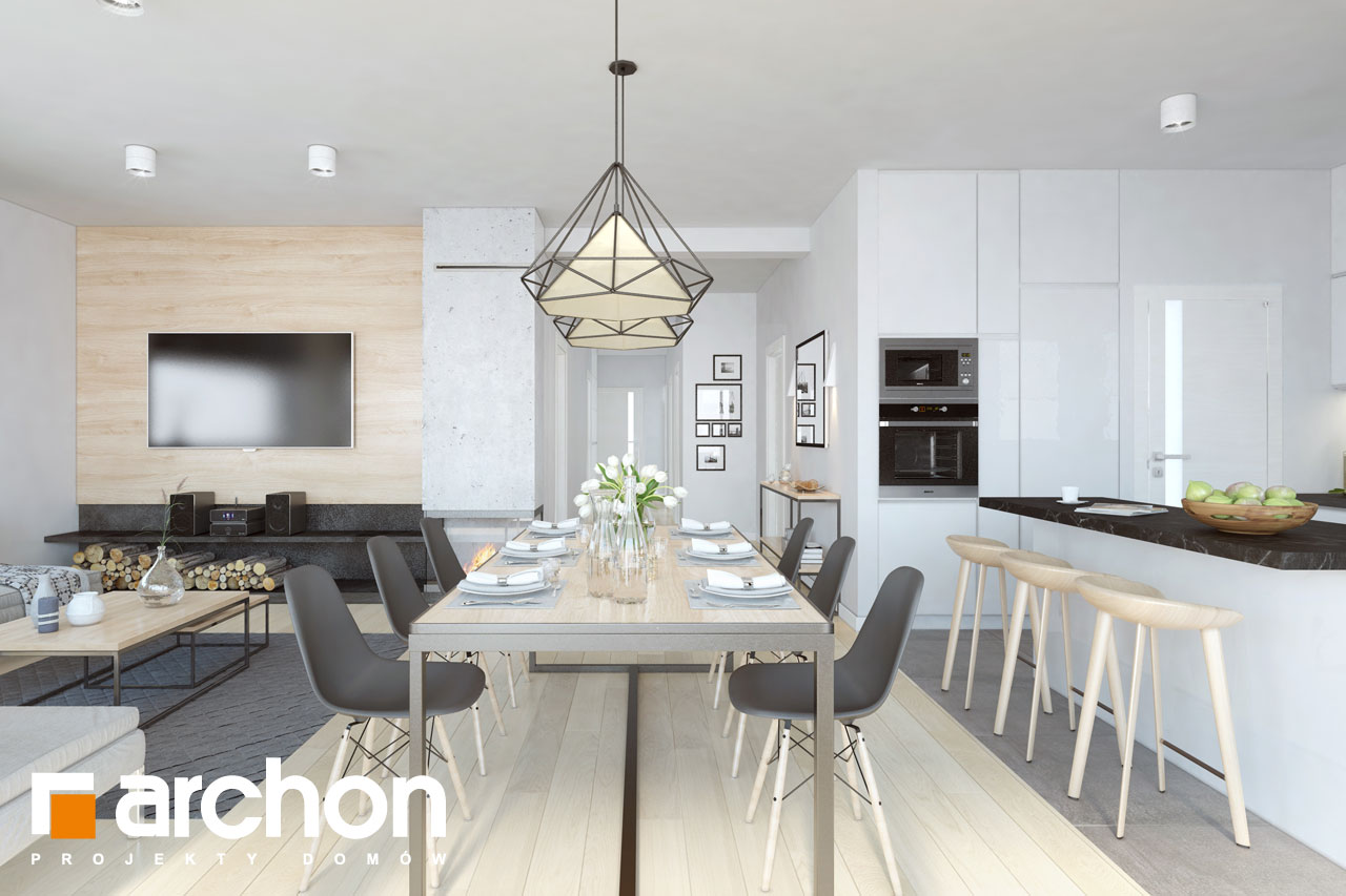 Проект будинку ARCHON+ Будинок в пепероміях денна зона (візуалізація 1 від 6)