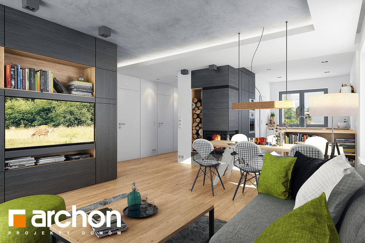 Проект дома ARCHON+ Дом в рододендронах 21 (H) дневная зона (визуализация 1 вид 3)