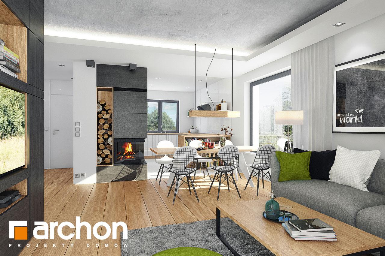 Проект дома ARCHON+ Дом в рододендронах 21 (H) дневная зона (визуализация 1 вид 4)