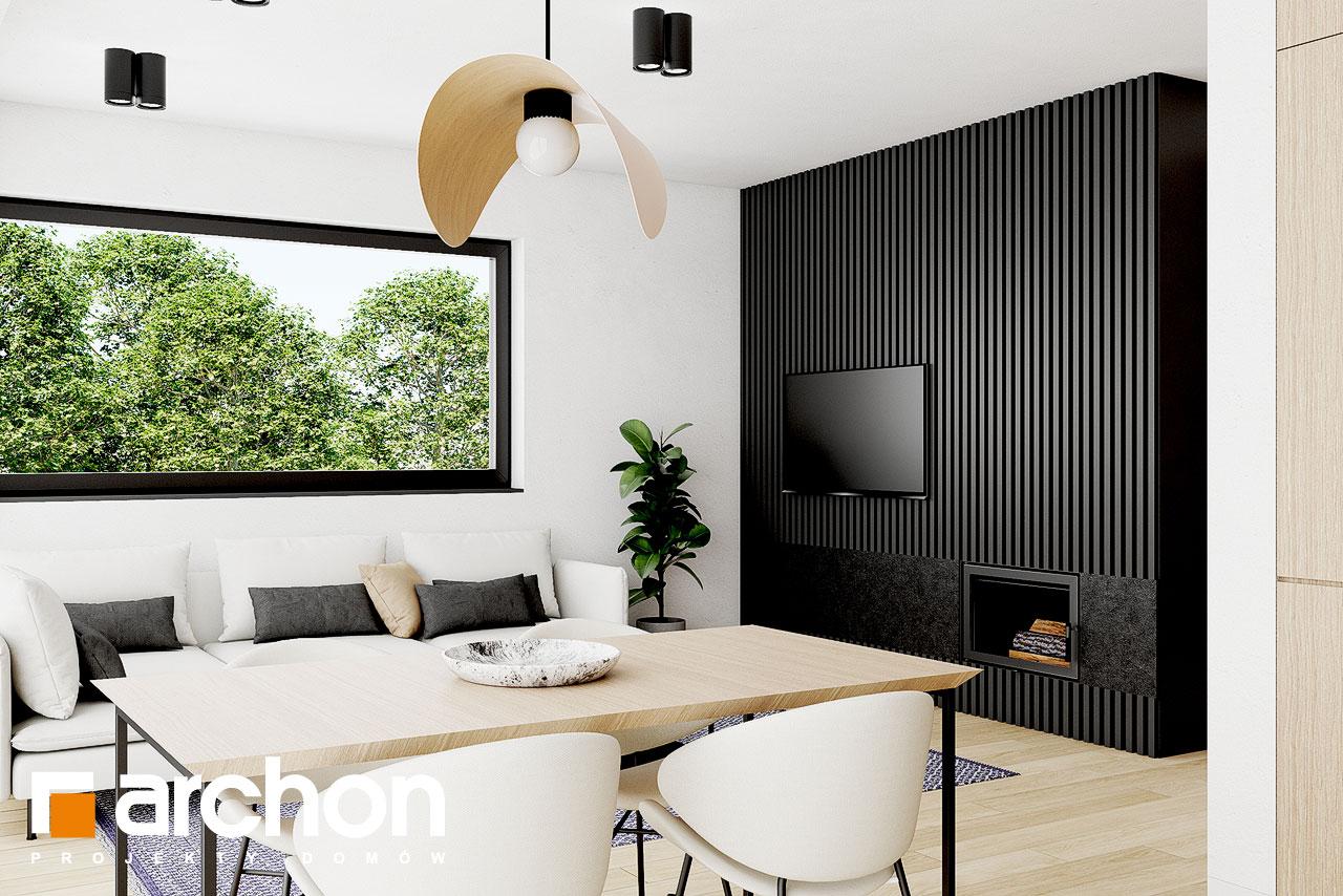 Проект дома ARCHON+ Летний домик в голокучнике дневная зона (визуализация 1 вид 3)
