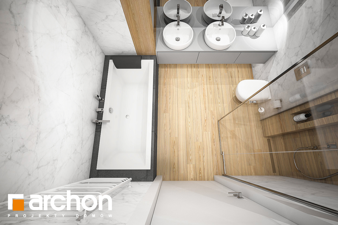 Проект будинку ARCHON+ Будинок в навлоціях візуалізація ванни (візуалізація 3 від 4)