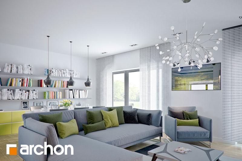 Проект дома ARCHON+ Дом в навлоциях дневная зона (визуализация 1 вид 2)
