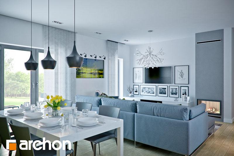 Проект дома ARCHON+ Дом в навлоциях дневная зона (визуализация 1 вид 4)