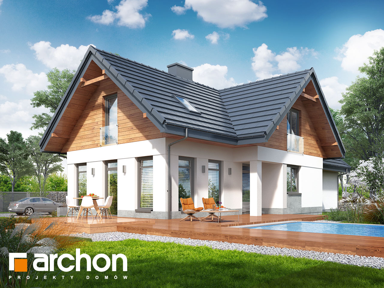 Проект будинку ARCHON+ Будинок в помело (П)  Вид 2