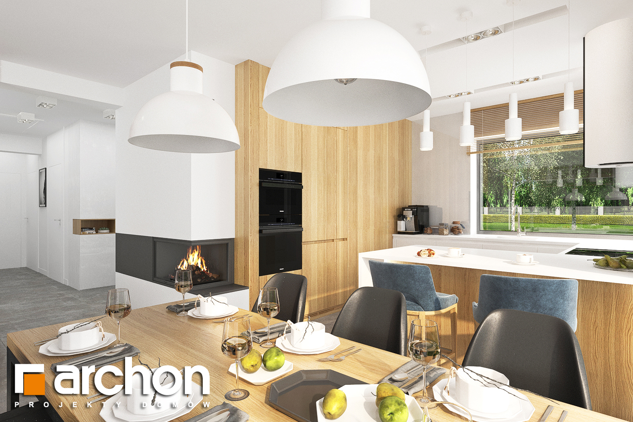 Проект будинку ARCHON+ Будинок в липниках денна зона (візуалізація 1 від 2)