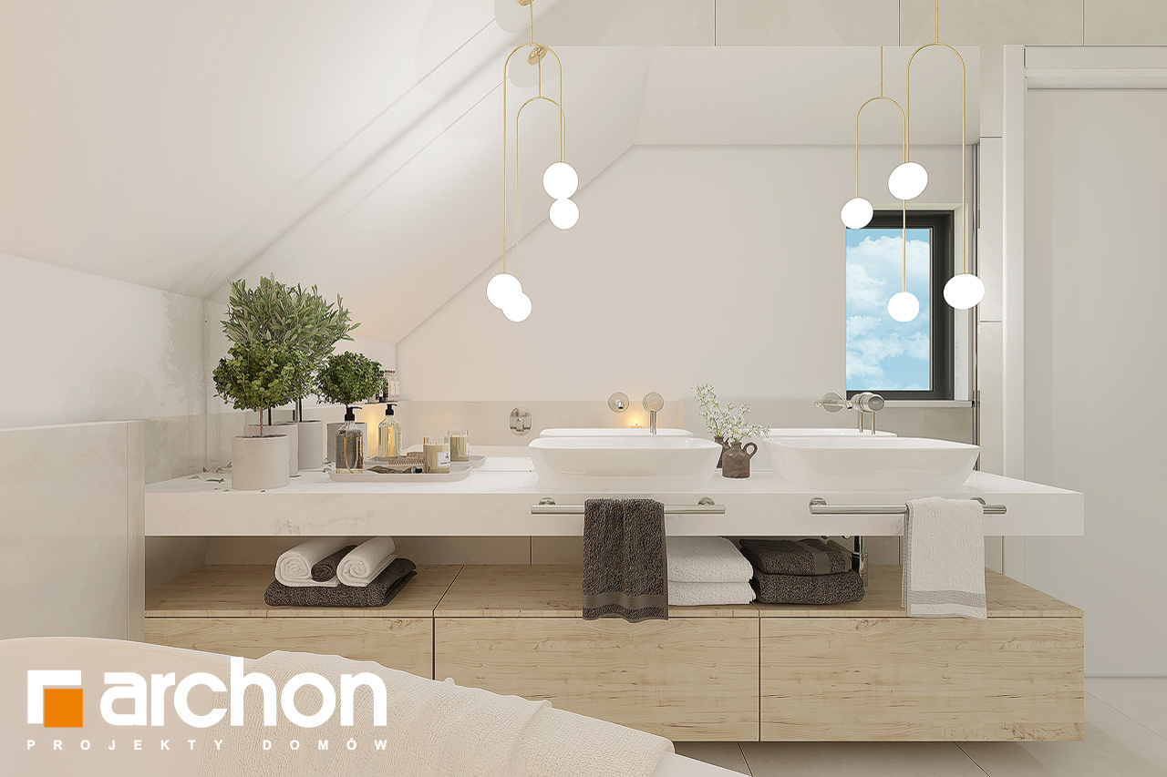 Проект будинку ARCHON+ Будинок в малинівці 11 візуалізація ванни (візуалізація 3 від 4)