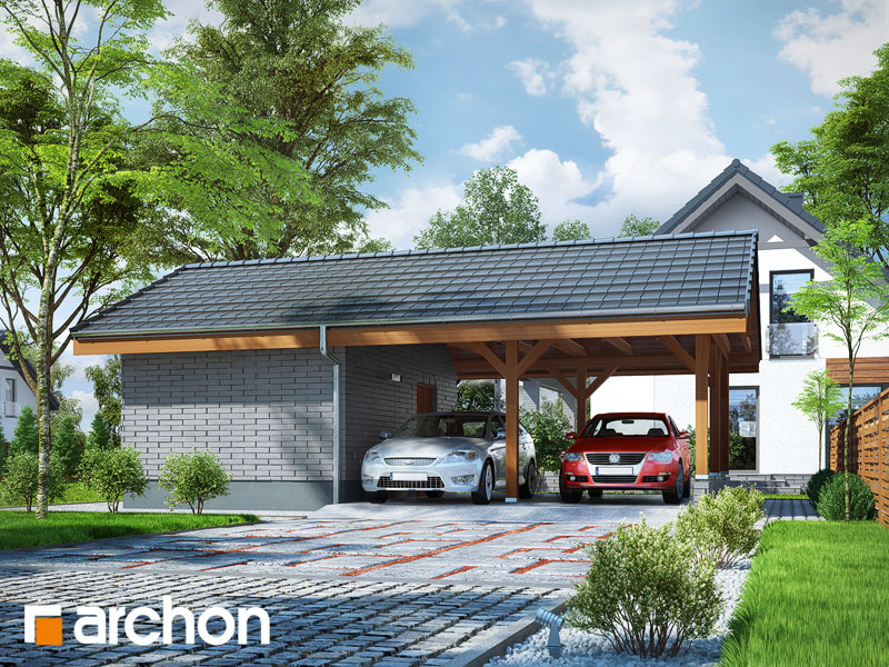 Проект дома ARCHON+ Гаражный навес (B3) стилизация 3
