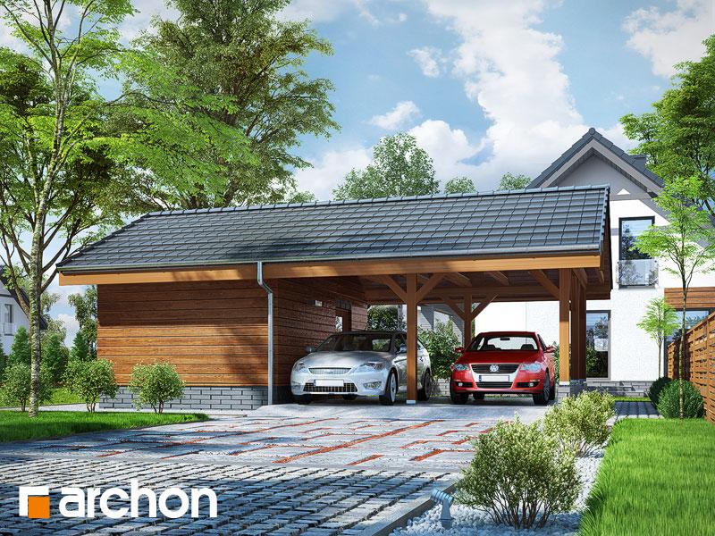 Проект дома ARCHON+ Гаражный навес (B3) Вид 1