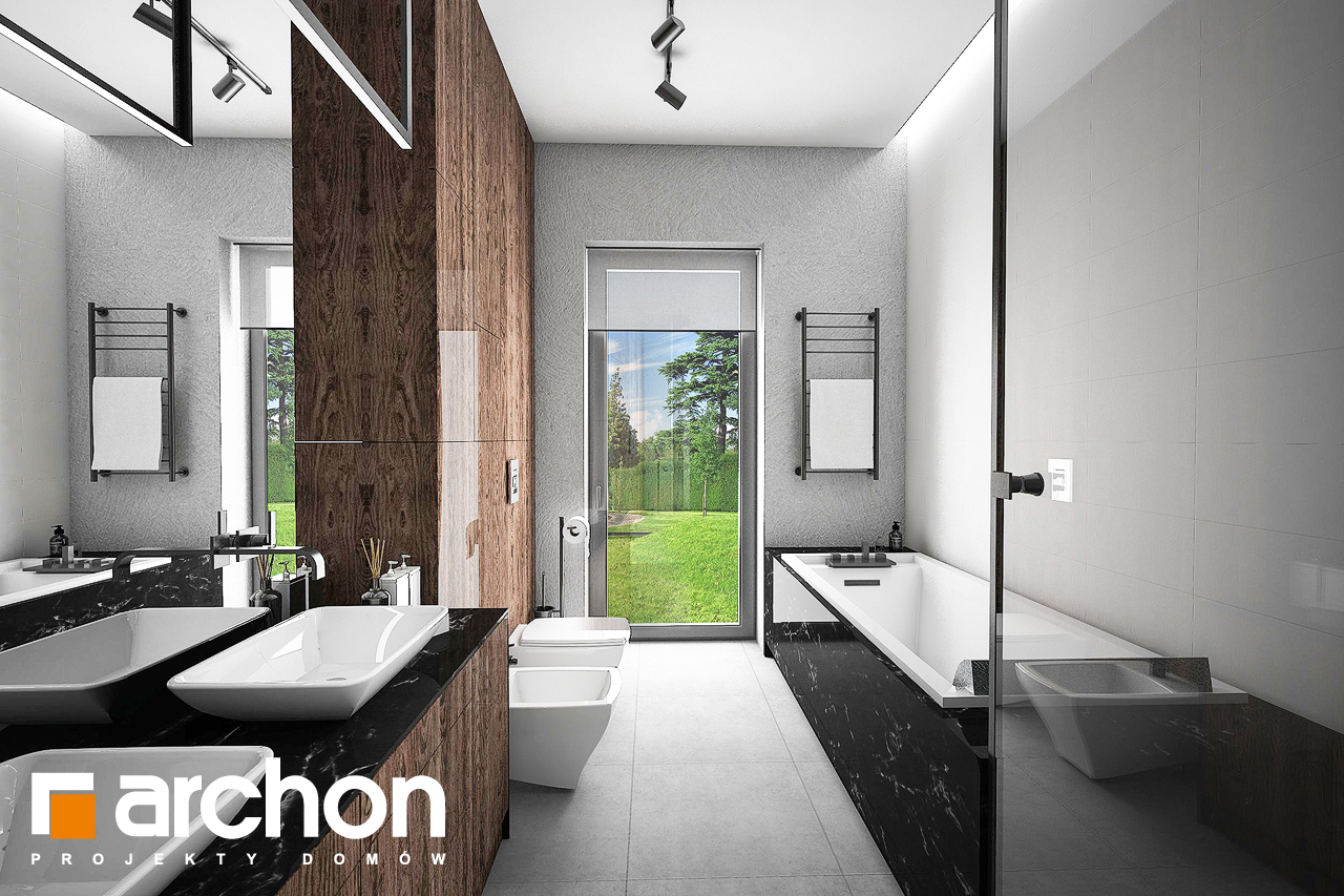 Проект будинку ARCHON+ Будинок в нігеллах 2 (Г2) візуалізація ванни (візуалізація 3 від 1)