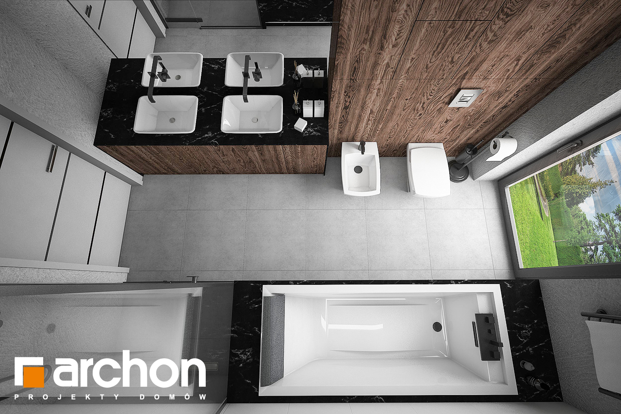 Проект будинку ARCHON+ Будинок в нігеллах 2 (Г2) візуалізація ванни (візуалізація 3 від 4)