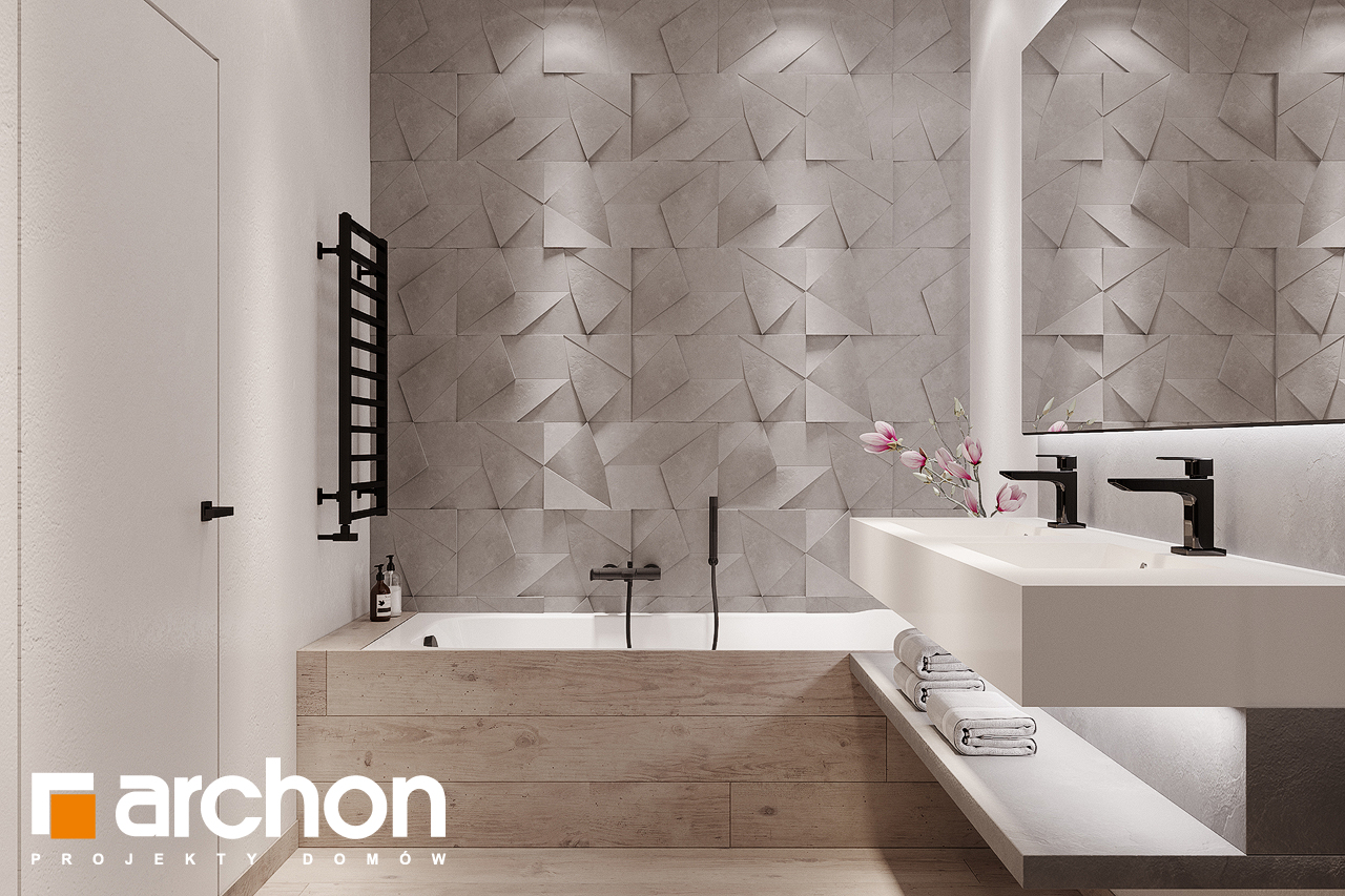 Проект будинку ARCHON+ Будинок в підсніжниках 4 (Г2) візуалізація ванни (візуалізація 3 від 2)