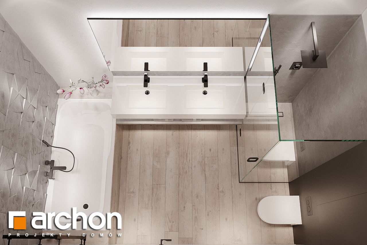 Проект будинку ARCHON+ Будинок в підсніжниках 4 (Г2) візуалізація ванни (візуалізація 3 від 4)