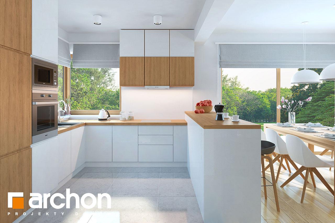 Проект дома ARCHON+ Дом в изумрудах визуализация кухни 1 вид 1
