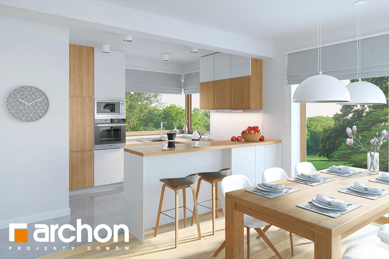 Проект дома ARCHON+ Дом в изумрудах визуализация кухни 1 вид 2