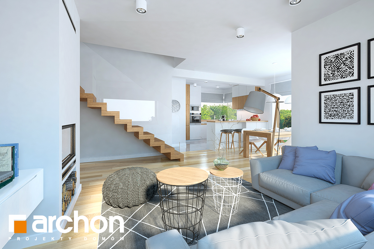 Проект дома ARCHON+ Дом в изумрудах дневная зона (визуализация 1 вид 2)
