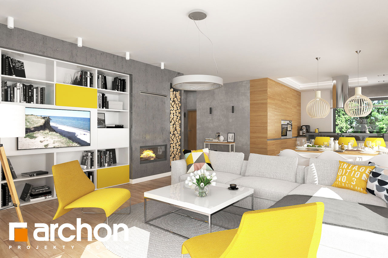 Проект будинку ARCHON+ будинок в ренклоді 2 денна зона (візуалізація 1 від 2)